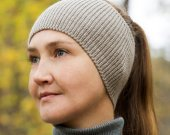 Knitted head bandage gray