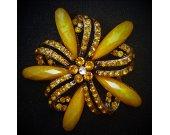 Misted Orange Flower Brooch