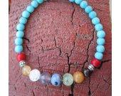 Turquoise stretch chakra bracelet.