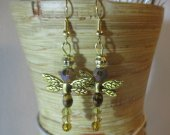 Amber glass dragonfly earrings.