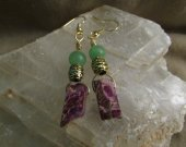 Purple Imperial Jasper, and green Aventurine ear rings.