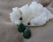 Green Jade, and black agate earrings
