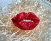 Red beaded brooch, Lips jewelry, Embroidered beads pin, Dress party accessories, Jacket coat lapel, Sparkling shiny pin