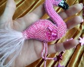 Pink beaded flamingo, brooch  crystal,brooch  pearls, dress shawl lapel pin, bird beadwork jewelry, girl badge pin,