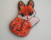 Seed beaded brooch Fox brooch Fox pin Fox jewelry Animal brooch Fox gift For her Fox badge Animal Jewelry Animal Lover N