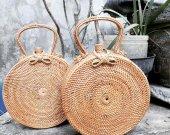 GRACE  ROTTAN BAG handmade in BALI  Diameter 20 sm Width 7 sm  Lining: Batik
