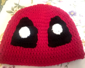 Large Adult Size Deadpool Winter Crochet Beanie