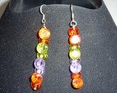earrings handmade, Long earrings, fianit  earrings