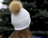 warm hat with fur pompom