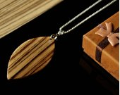 Handmade Women Wood Necklace  Leaf Pendant Necklace  Zebrano Wood Pendant  fiance gift  valentines day gift  personalized gift