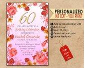 Birthday Invitations. Personalized. Invitations. Birthday card. Digital file. Template. Flower