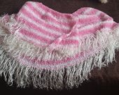 scarf long pink, white stripe fringe white acrylic