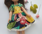 Tropical print dress with bead trim for 13-inch dolls, such as Dianna Effner Little Darlings, Paola reina and dolls of similar size