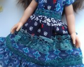 Blue midi dress for 13 inch dolls like Little Darling and Paola Reina , Dianna Effner and similar dolls