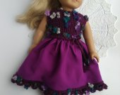 fits 18 dolls. American girl doll purple dress / AG clothes , doll dress /knitted dress , doll clothes . AG outfit
