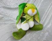 Green Rabbit plush handmade bunny soft toy with leaves luxury home decor unique nursery decor