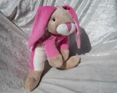 Pink bunny rabbit plush for girls Unique handmade stuffed animal nursery decor baby shower gift find ooak