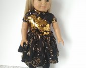 American girl doll golden dress
