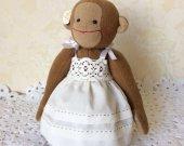Handmade toyst . monkey toy , handmade textile toys