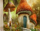 Fabric Wall Tapestry/Throw Toadstool Houses