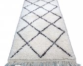 Small Moroccan Rug Beni Ourain 2x3, Soft Wool Hand knotted By Berber Artisans
