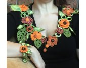 Lariat necklace, Crocheted festival scarf Flower jewelry as a gift for the girl or the woman
