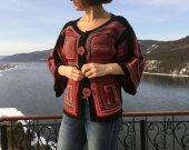 Kimono cardigan, Boho style jacket, Patchwork Knitted  Multicolor, Ethnic Style cardigan, Gypsy style crochet idea gift woman