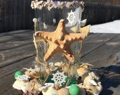 Sea candal holder, Beach Decor candal holder, SeaShell candal holder, Beach Wedding Decor, Coastal Decor