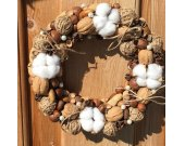 "Nuts Wreaths, Door Wreaths, Wall Decor, Handmade Wreath, Nut Theme, ""Nuts and Cotton"",  Eco, Natural."