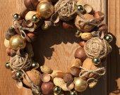 "Nuts Wreaths, Door Wreaths, Wall Decor, Handmade Wreath, Nut Theme, ""Nutty Fantasy"", Eco, Natural."