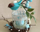 Spring Gift, Easter, Country Gift, Bird cage, Birds Nest, Eggs, Bird on Cage.