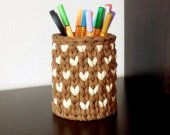 brown and beige knitted basket for pencil