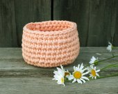 cotton crocheted basket peach color