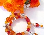Carnelian Gemstone Bracelet, Wrap Around Bracelet, Coil Bracelet, Autumn Bracelet, Beaded Bracelet, Charm Bracelet, Stone Bracelet, For Her