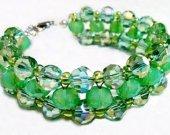 Mint Green Jewelry, Woven Crystal Bracelet, Opal Beads Bracelet, Roundelle Beads Bracelet, Round Beads Bracelet, August Birthstone Bracelet