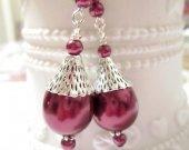 Burgundy Earrings, Maroon Earrings, Pearl Earrings, Drop Earrings, Pearl Drop Earrings, Bridesmaid Earrings, Bridesmaid Gift, Handmade Gift