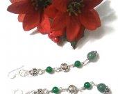 Chinese Jade Earrings, Aventurine Earrings, Gemstone Earrings, Earrings Handmade, Sterling Silver Earrings, Multi Gemstone Earrings, Gifts