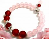 Rose Quartz Bracelet, Pink and Burgundy Bracelet, Memory Wire Bracelet, Gemstone Bracelet, Gemstone Jewelry, Glass Jewelry, Handmade Gift