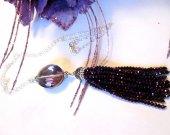 Purple Tassel Necklace, Crystal Tassel Necklace, Tassel Necklace, Oval Crystal Necklace, Burgundy Tassel Necklace, Crystal Chain Necklace