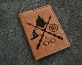 Personalized Leather Passport Cover, Harry Potter, Hogwarts, Gryffindor, Custom Leather Passport Holder