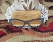 Cat Eyeglasses Wooden Desktop Business Card Holder