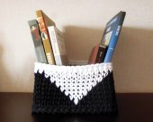 crocheted basket, black and white