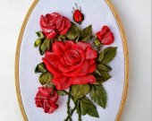 Embroidery hoop art red Rose Hand stitched hoop hand embroidery flowers Textile gifts wall embroidery ribbon art Contemporary fabric art