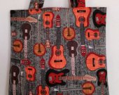 Natural Guitar Curve Bottom Gray Flannel Tote