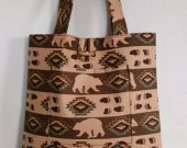 Large Bears and Footprints Brown Aztec Print Tote