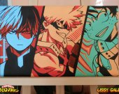 My Hero Academia. Todoroki, Bakugou and Deku 100% Handmade Acrylic On Canvas