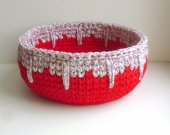 crocheted basket red color