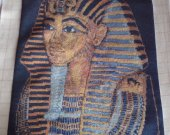 KING TUT a beautiful finished Bulgarian Needlepoint goblin comes unframed