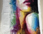 Embroidered Picture: Lips. Cross Stitch, Handmade