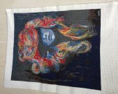Embroidered Picture: Sea-girl. Cross Stitch, Handmade